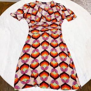 3/$25 T-bags Retro Print Wrap Jersey Midi Dress
